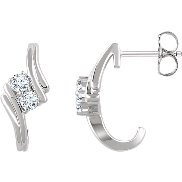 Easy Gift in 14 Karat White Gold 0.40 Carat Total Weight Diamond Two-Stone Earrings