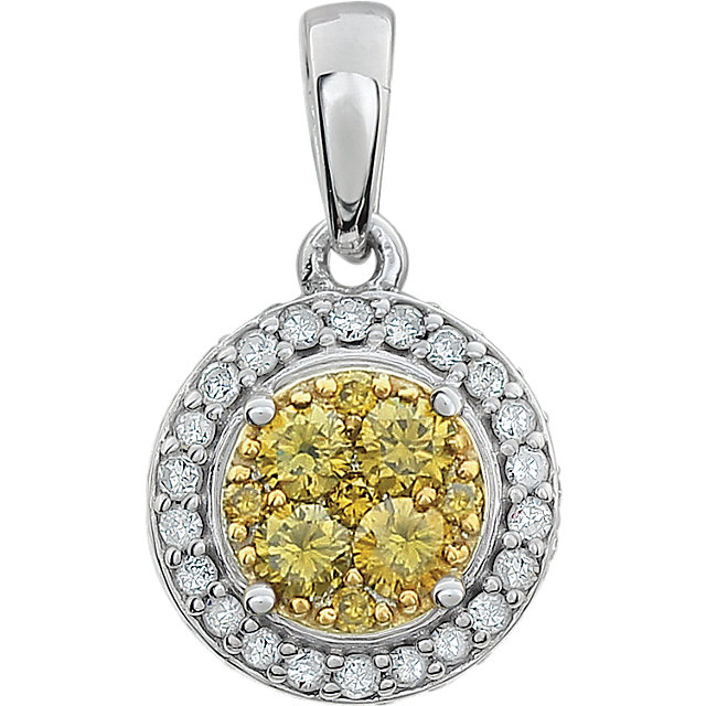 Great Buy in 14 Karat White Gold 0.40 Carat Total Weight Diamond Yellow & White Halo Pendant