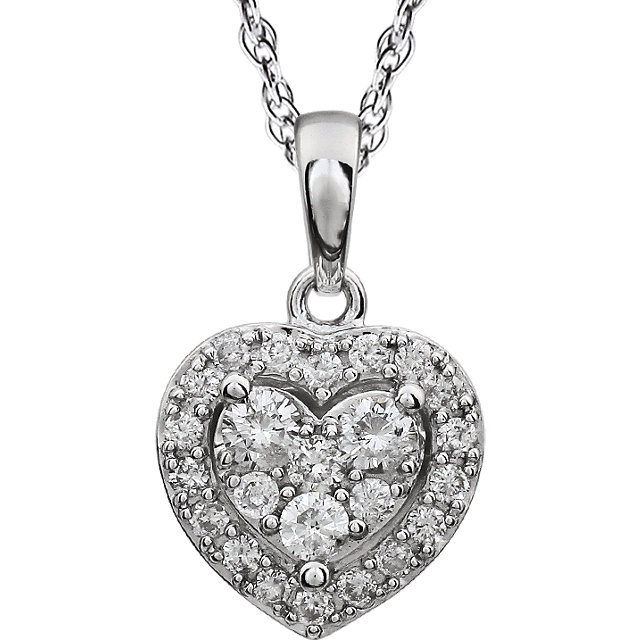 Perfect Jewelry Gift 14 Karat White Gold 0.40 Carat Total Weight Halo-Style Diamond Heart 18