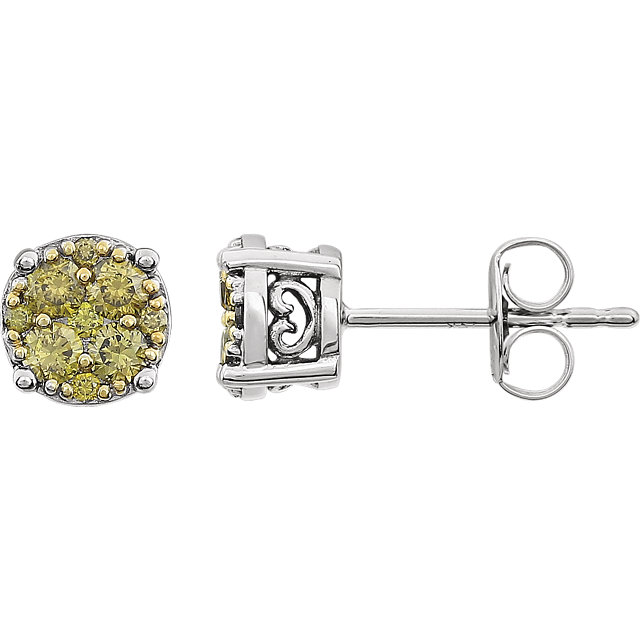 Enchanting 14 Karat White Gold 3/8 Carat Total Weight Yellow Diamond Cluster Earrings