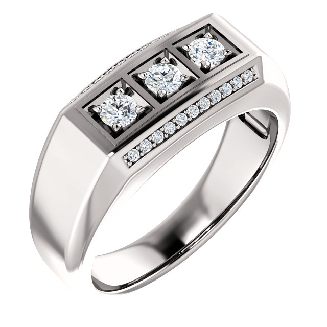 14 Karat White Gold 0.40 Carat Diamond Men's Ring