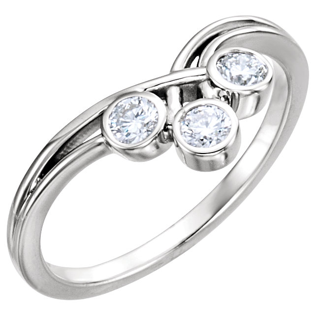 Low Price on Quality 14 KT White Gold 3mm Round Three-Stone Ring Mounting