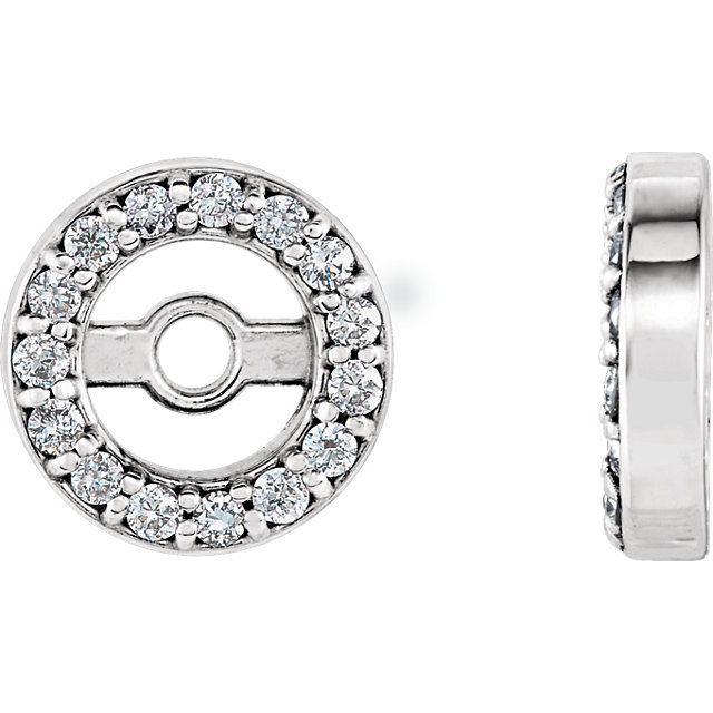 Perfect Jewelry Gift 14 Karat White Gold 4.4mm ID .08 Carat Total Weight Diamond Earring Jackets