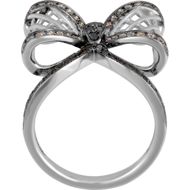 14 KT White Gold 5/8 Carat Total Weight Diamond Bow Ring Size 7