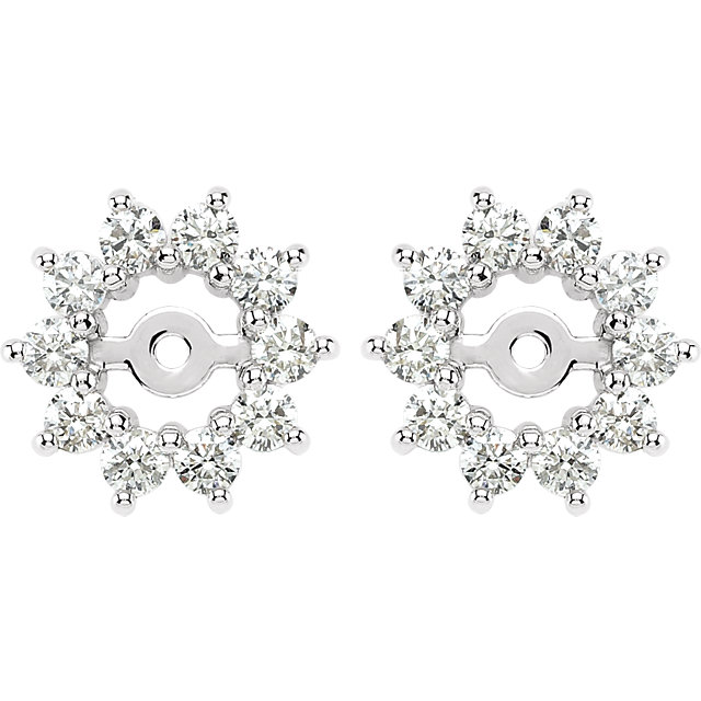 Easy Gift in 14 Karat White Gold 0.60 Carat Total Weight Diamond Earring Jackets