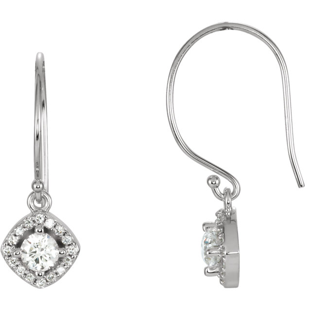 Perfect Jewelry Gift 14 Karat White Gold 0.60 Carat Total Weight Diamond Earrings