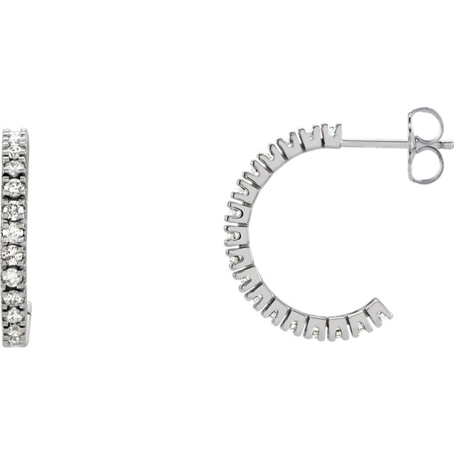Stunning 14 Karat White Gold 0.60 Carat Total Weight Diamond Hoop Earrings
