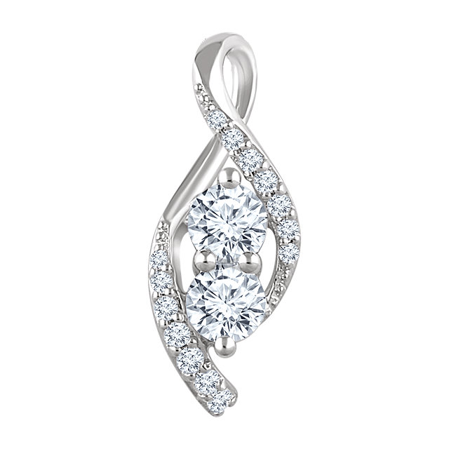 Great Deal in 14 Karat White Gold 0.60 Carat Total Weight Diamond Pendant
