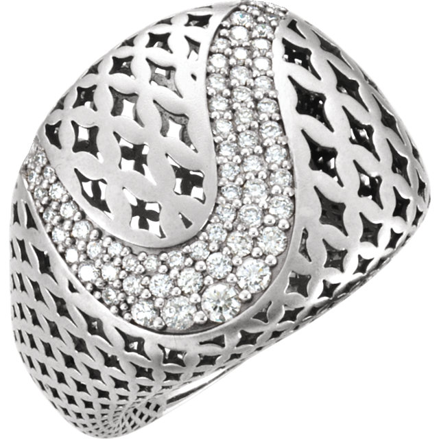 Contemporary 14 Karat White Gold 0.60 Carat Total Weight Diamond Pierced Style Ring