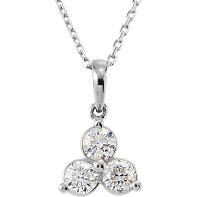 14 KT White Gold 5/8 Carat Total Weight Diamond Three-Stone Necklace