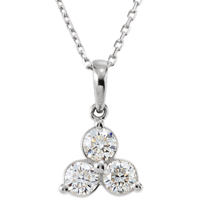 14 KT White Gold 5/8 Carat TW Diamond Three-Stone Necklace