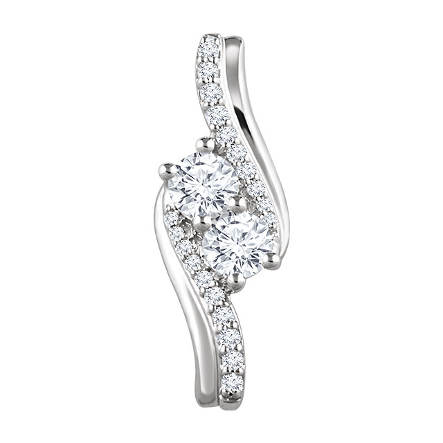 Wonderful 14 Karat White Gold 0.60 Carat Total Weight Diamond Two Stone Pendant