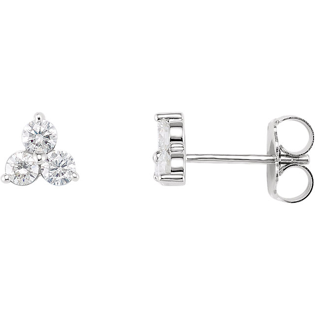 Great Buy in 14 Karat White Gold 0.60 Carat Total Weight Three-Stone Diamond Earrings