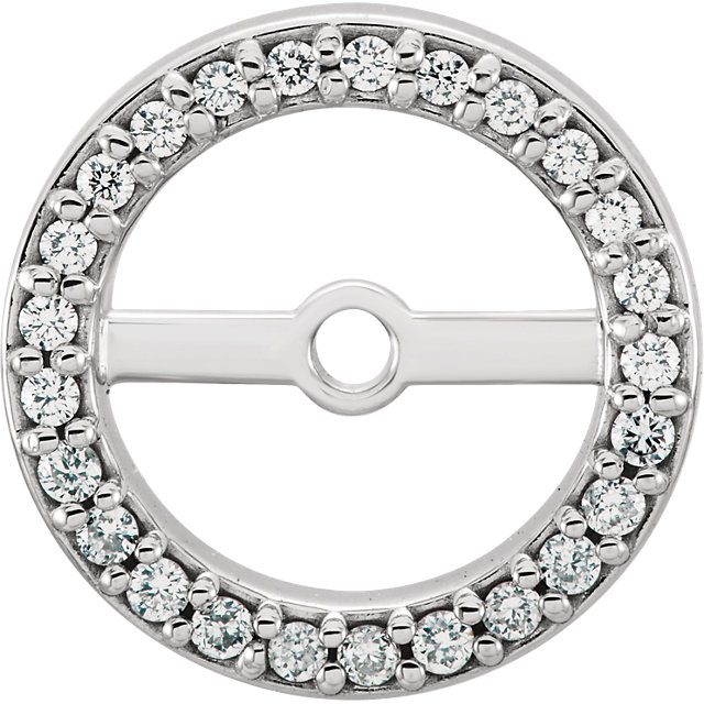Surprise Her with  14 Karat White Gold 6.9mm ID 0.12 Carat Total Weight Diamond Earring Jackets