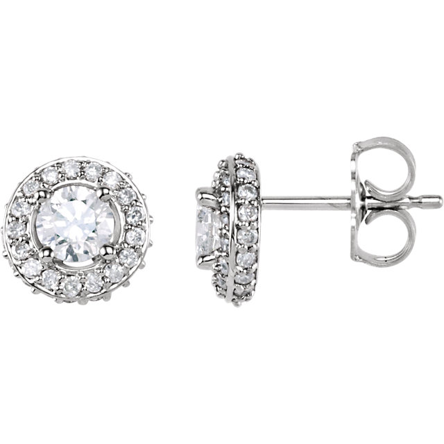 Very Nice 14 Karat White Gold 0.75 Carat Total Weight Diamond Earrings