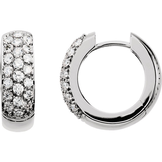 Gorgeous 14 Karat White Gold 0.85 Carat Total Weight Diamond Hoop Earrings