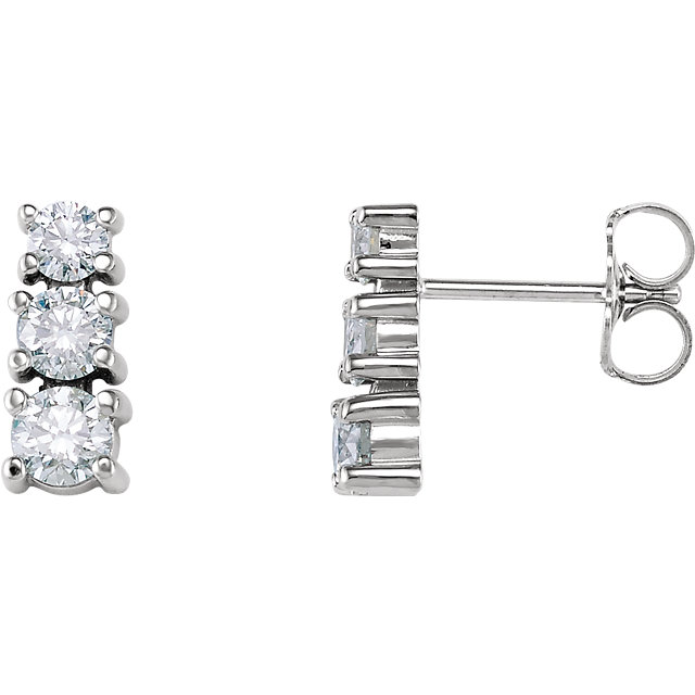 Must See 14 Karat White Gold 0.90 Carat Total Weight Diamond Three-Stone Earrings