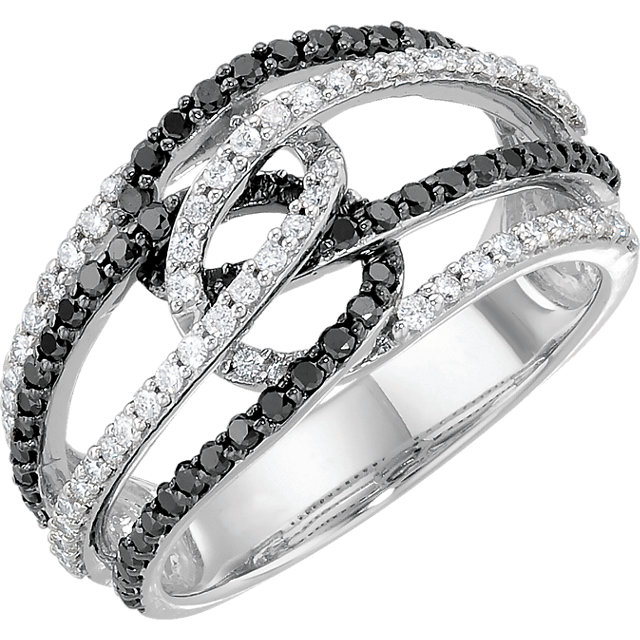 Deal on 14 KT White Gold Black Rhodium Plated 0.75 Carat TW Black & White Diamond Ring Size 7