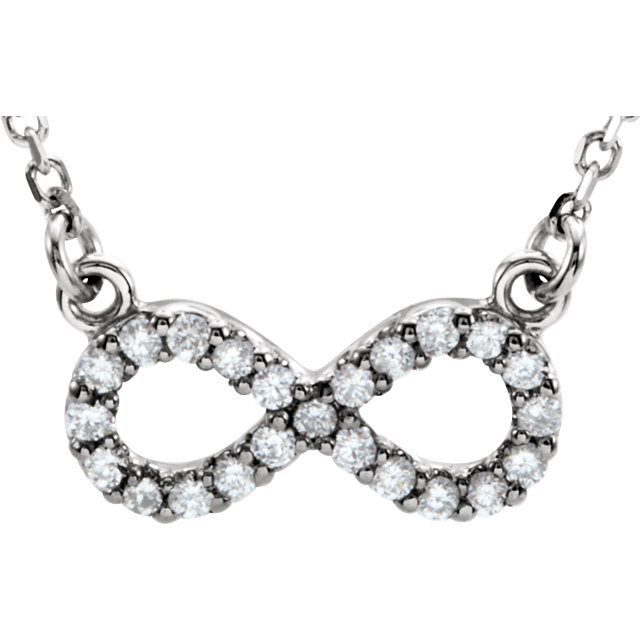 Wonderful 14 Karat White Gold Diamond Infinity-Inspired 16