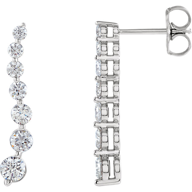 Wonderful 14 Karat White Gold Journey Diamond Earrings