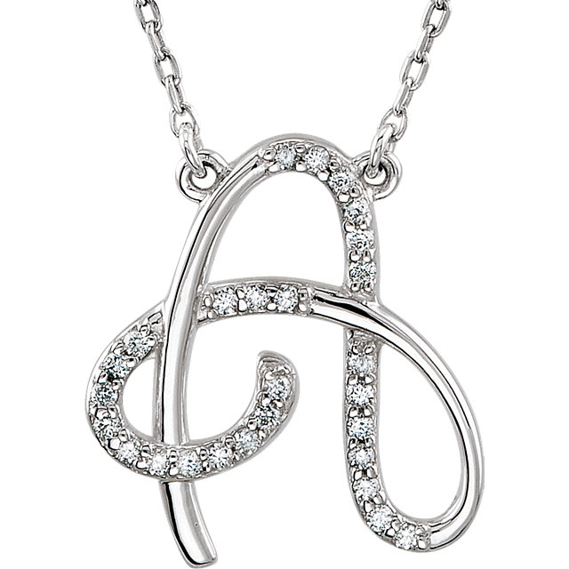 Perfect Gift Idea in 14 Karat White Gold Letter