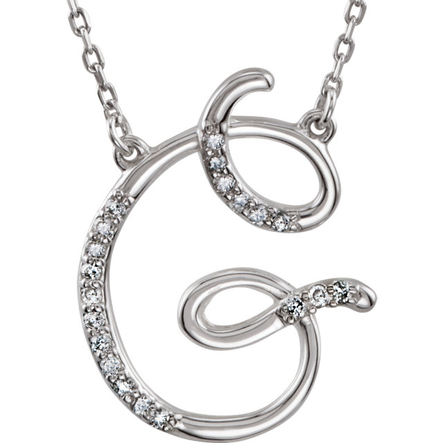 Perfect Jewelry Gift 14 Karat White Gold Letter