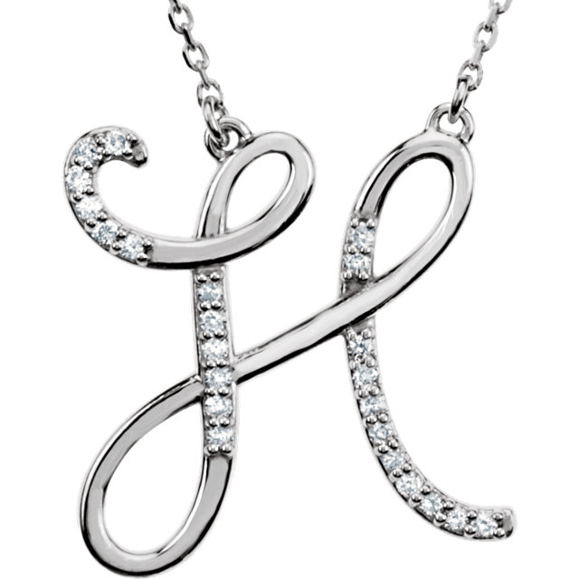 Appealing Jewelry in 14 Karat White Gold Letter