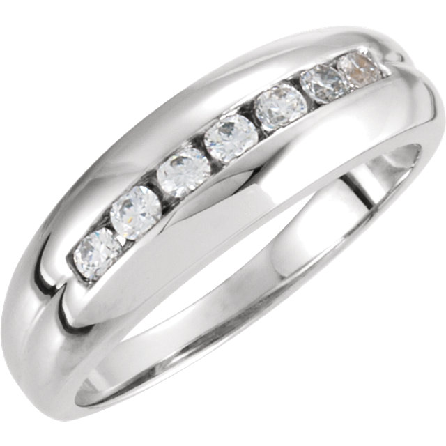 Genuine 14 Karat White Gold Men's 0.40 Carat Diamond Ring