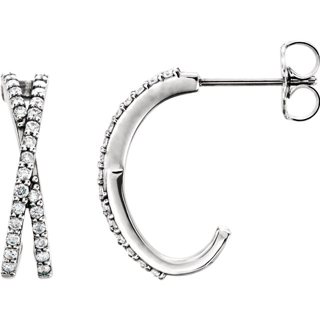 Chic 14 Karat White Gold 0.25 Carat Total Weight Round Genuine Diamond Criss-Cross J-Hoop Earrings