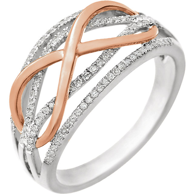 Great Deal in 14 Karat White Gold & Rose 0.25 Carat Total Weight Diamond Ring