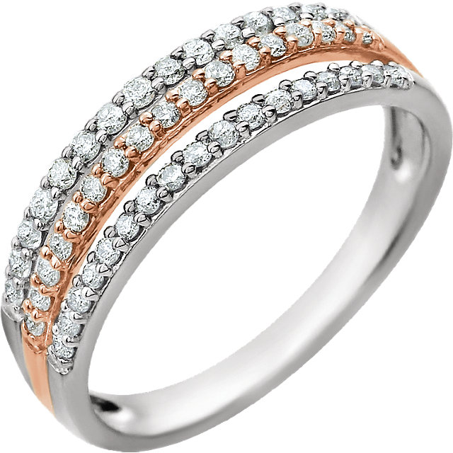 14 KT White Gold & Rose 3/8 Carat TW Diamond Ring
