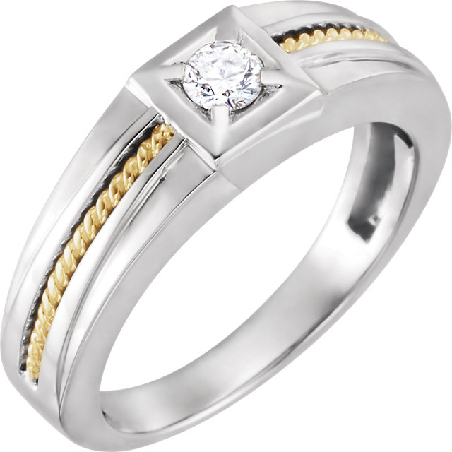 Classic 14 KT White & Yellow Gold 1/4 Carat TW Round Genuine Diamond Men's Ring