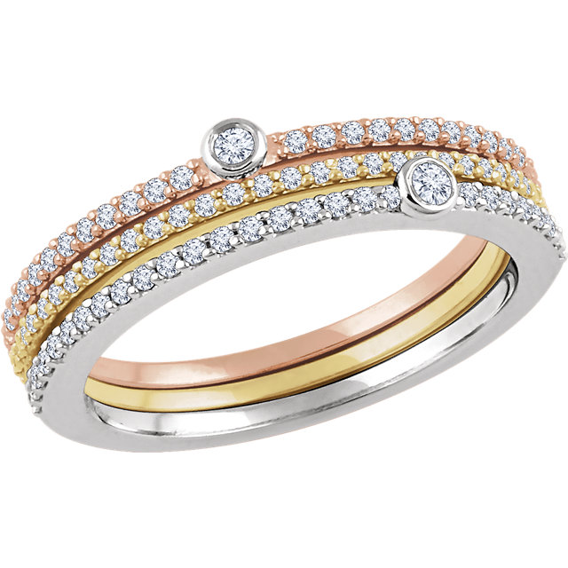 Shop Real 14 KT White Gold, Yellow, & Rose 0.40 Carat TW Diamond Set of 3 Stackable Rings