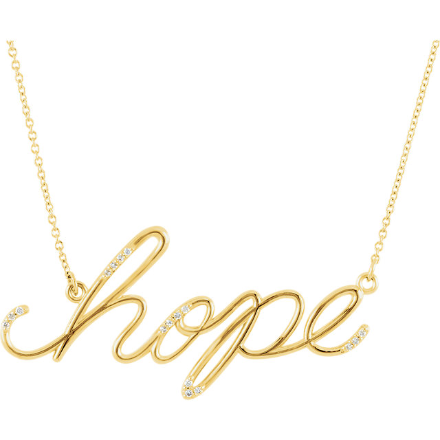 "Must See 14 KT Yellow Gold .08 Carat TW Diamond Hope 16 0.50"" Necklace"