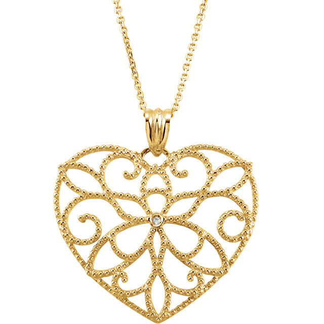 Genuine  14 Karat Yellow Gold .005 Carat Diamond Heart 18