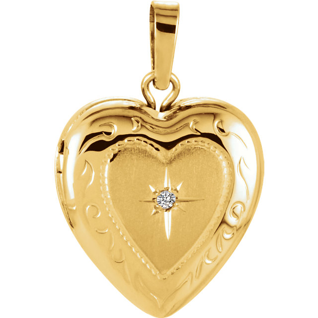 Great Buy in 14 Karat Yellow Gold .005 Carat Diamond Heart Shape Locket