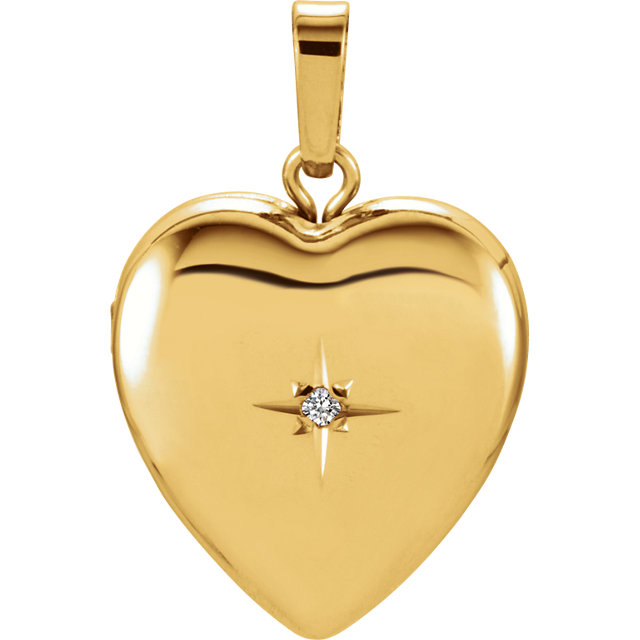 Easy Gift in 14 Karat Yellow Gold .005 Carat Diamond Heart Shape Locket
