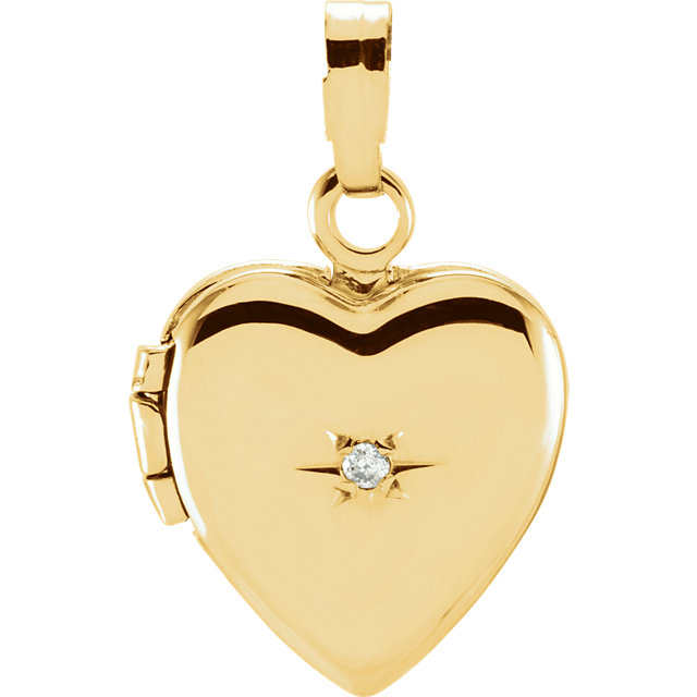 Perfect Jewelry Gift 14 Karat Yellow Gold .005 Carat Diamond Heart Shaped Locket