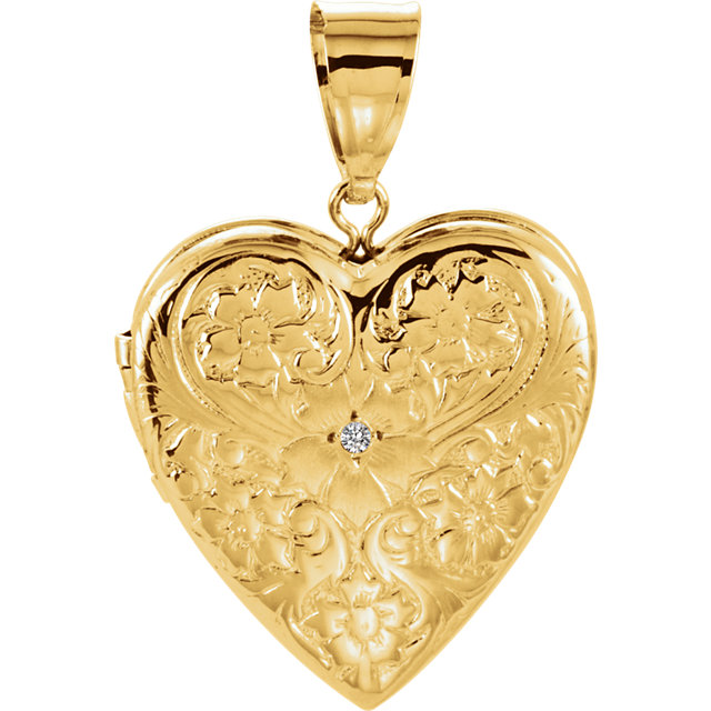 14 KT Yellow Gold .01 Carat Total Weight Diamond Floral Heart Locket