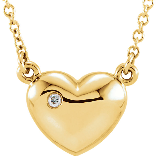 Great Gift in 14 Karat Yellow Gold .01 Carat Total Weight Diamond Heart 16.5