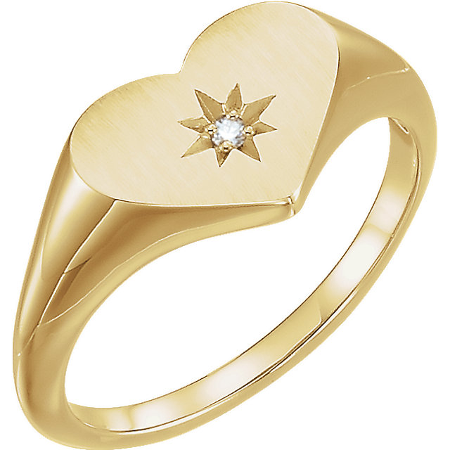 14 Karat Yellow Gold .01 Carat Diamond Heart Signet Ring