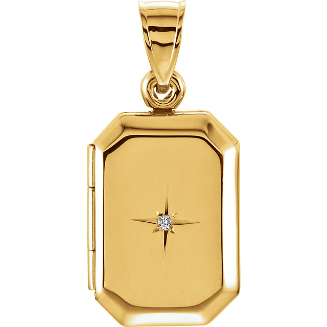 Remarkable 14 Karat Yellow Gold .01 CT Round Genuine Diamond Locket