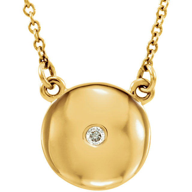 Easy Gift in 14 Karat Yellow Gold .02 Carat Total Weight Diamond Domed 16.5