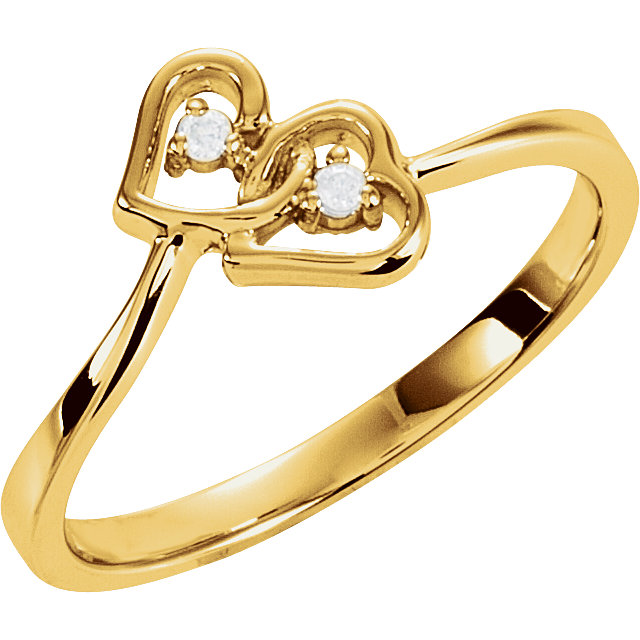 Great Buy in 14 Karat Yellow Gold .02 Carat Total Weight Diamond Double Heart Ring