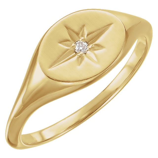 Genuine 14 KT Yellow Gold .02 Carat TW Diamond Ring