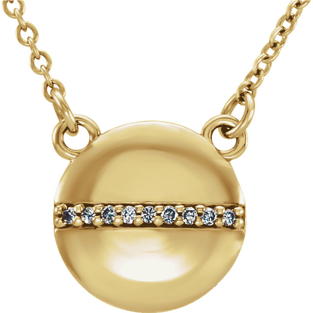 Contemporary 14 Karat Yellow Gold .025 Carat Total Weight Diamond Circle 16