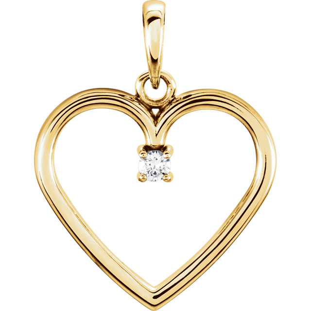 Excellent 14 Karat Yellow Gold .025 Carat Total Weight Round Genuine Diamond Heart Pendant