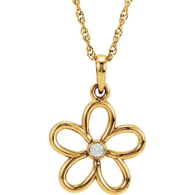 Great Gift in 14 Karat Yellow Gold .03 Carat Total Weight Diamond Flower 18
