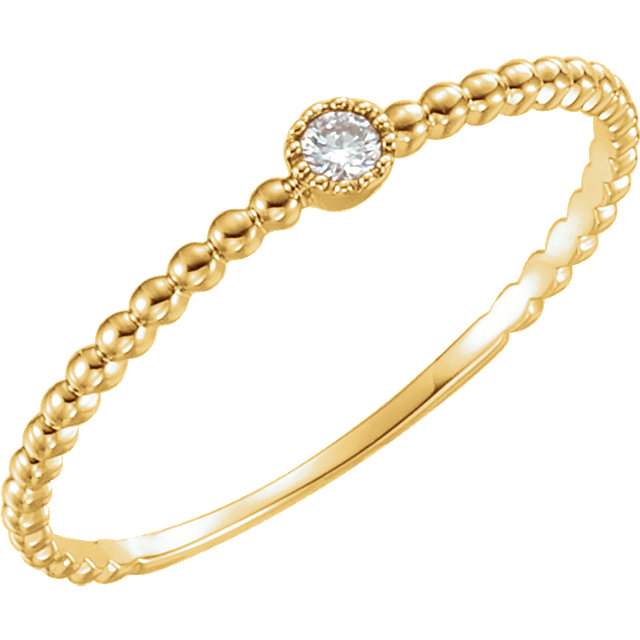Fine 14 KT Yellow Gold .03 Carat TW Diamond Bead Design Ring Size 7
