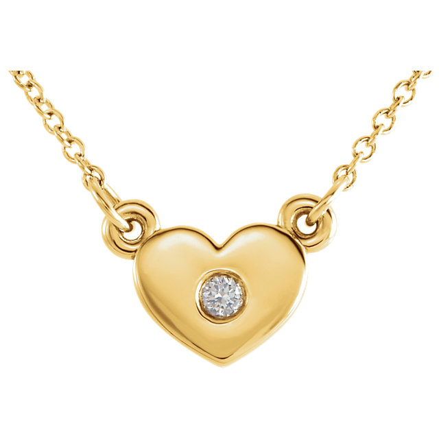 Must See 14 Karat Yellow Gold .03 Carat Total Weight Diamond Heart 16